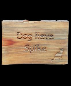 gedenkbordje hout hond